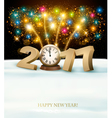 Happy New Year 2017 background with fireworks vector image