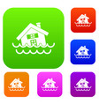 house sinking in a water set collection vector image vector image