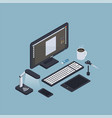 isometric computer workplace composition vector image