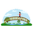 landscape of a park with a girl running vector image