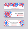 likes emoji banner set blue and red thumb up vector image