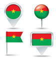 Map pins with flag of Burkina Faso vector image vector image