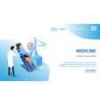 medicine horizontal banner girl in medical chair vector image vector image