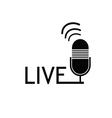 microphone live black vector image vector image