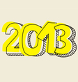 New Year 2013 hand drawn symbol yellow highlighter vector image vector image