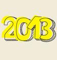 New Year 2013 hand drawn symbol yellow highlighter vector image
