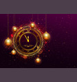 new year eve gold clock with roman numerals vector image