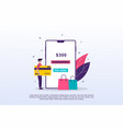 online payment concept with tiny people can use vector image