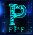 p letter capital digit roentgen x-ray vector image vector image