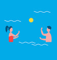 people playing in water polo vector image