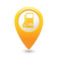 petrol station 24h MAP pointer yellow vector image vector image