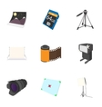 Photography icons set cartoon style vector image vector image