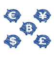 Piggy bank currency icons with hand drawn effect vector image vector image