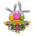 rabbits hold colored eggs for happy easter vector image