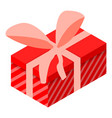red striped gift box icon isometric style vector image vector image