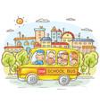 school bus with happy kids in the city vector image vector image