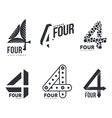 Set of black and white number four logo templates vector image vector image