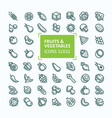 set of icons of fruits and vegetables in vector image vector image
