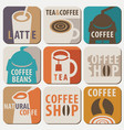 set of logo for hot drinks tea and coffee vector image vector image