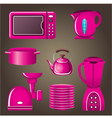 Set pink cookware and kitchen appliances vector image