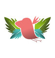 silhouette bird with exotic leaves reserve vector image vector image