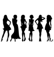 Six slim attractive women silhouettes vector image