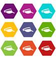 sun cap icon set color hexahedron vector image vector image