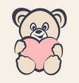 teddy bear toy with heart vector image vector image