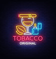 tobacco shop logo cigarettes shop night vector image