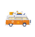 van car with baggage and surfboard on a roofflat vector image vector image