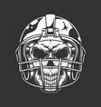 vintage american football player skull vector image