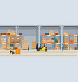 warehouse interior with boxes on rack and people vector image