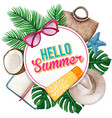 watercolor round tropical summer banner vector image vector image