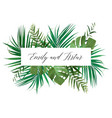 wedding floral invite card with green palm leaves vector image vector image
