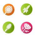 wild flowers flat design long shadow glyph icons vector image vector image