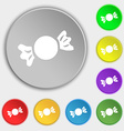 candy icon sign Symbol on eight flat buttons vector image