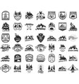 42 camping hiking and tourism emblems vector image vector image