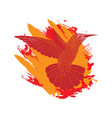 background with flying colibri bird on flame brush vector image vector image