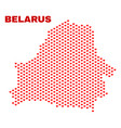 belarus map - mosaic of love hearts vector image vector image