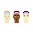 black asian and white girls faces vector image