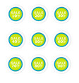 Blue and green circular discount paper labels