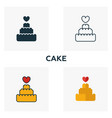 cake icon set four elements in diferent styles vector image