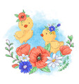 cartoon a cute chicken in a wreath vector image vector image