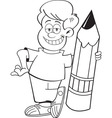 Cartoon boy holding a large pencil
