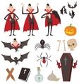 Cartoon Dracula symbols icons vector image vector image