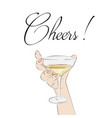 cheers cocktail in hand woman holding glass with vector image vector image