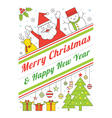 Christmas Characters Line Style Poster vector image
