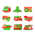 christmas sale labels pine tree gingerbread cookie vector image vector image