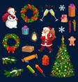 christmas tree gift santa snowman snow icons vector image vector image