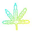 cold gradient line drawing cartoon marijuana leaf vector image vector image